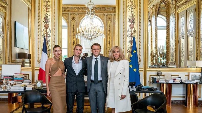 Джастин и Хейли Бибер встретились с Президентом и Первой леди Франции Эммануэлем и Брижит Макроном