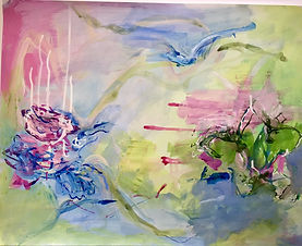"""""""Pink pond"""" mixed media on paper, 19x24"""""""