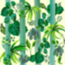 jungle themed wallpaper and  fabric design with lush leaves, botanical themed fabric design