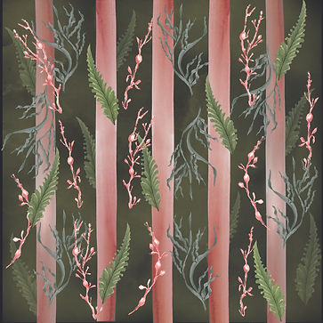 atmospheric wallpaper or fabric design with pink stripes and seaweeds