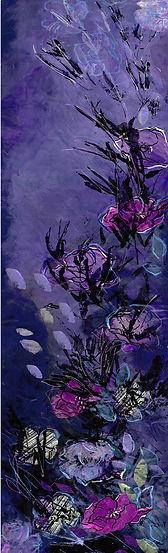 purple flowers, cascading flowers, mural, wallpaper, handpainted, wallart