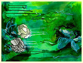 abstract flower painting, pond, mixed media on paper, abstract art, art for walls