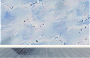 mural, clouds, ribbons