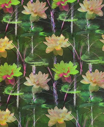 painterly fabric or wallpaper design with floating lillies