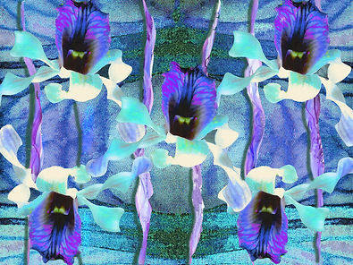 fabric design with blue orchids