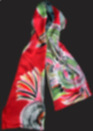 Silk, lined, hand -painted scarf