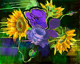 Sunflowers, collage, mixed media, painterly, art, floral art, paint drips