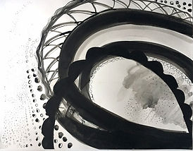 ink on paper, black&white drawing, work on paper, abstract drawing