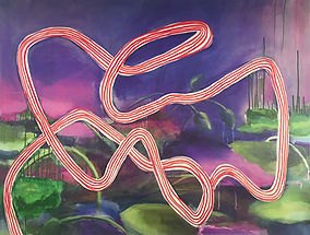 acrylic on canvas, abstract painting, ribbon