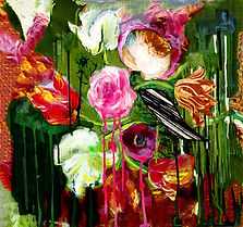 abstract flowers, acrylic paint, mixed media, dramatic flowers on dripping background