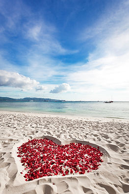 Heart of roses petals on sandy beach with tropical sky copyspace, nobody. Happy Valentines