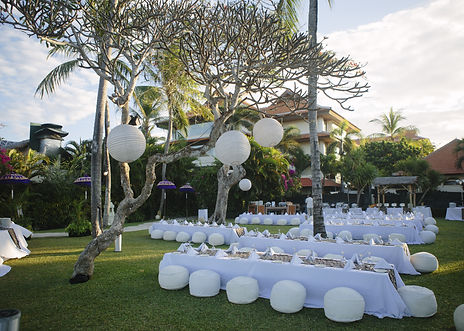 outdoor decoration, party chair table arrangement on the beach with white theme, set up fo