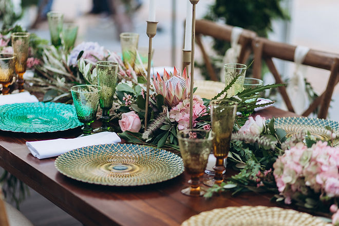Boho wedding table for a newlywed banque