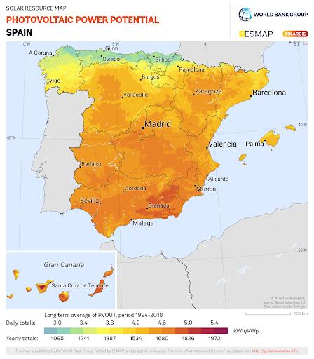 Mapa de España con el potencial de energía solar fotovoltaica