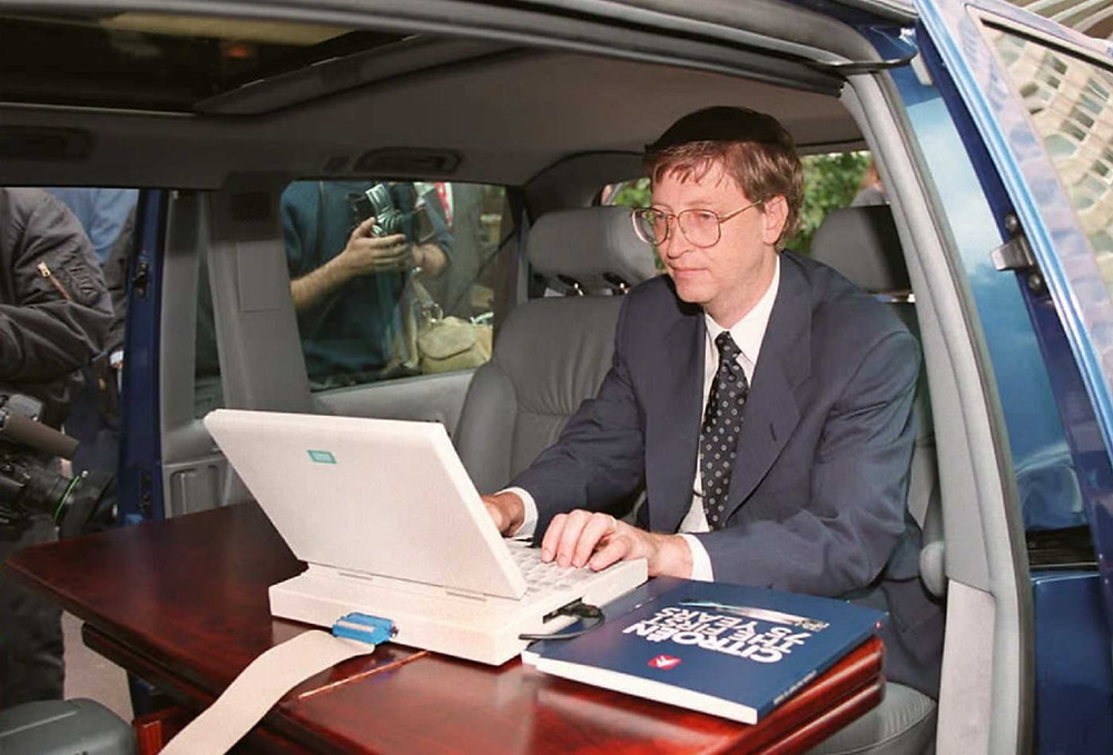 Bill Gates promotes the launch the Internet Explorer in 1995 form the back of a limousine