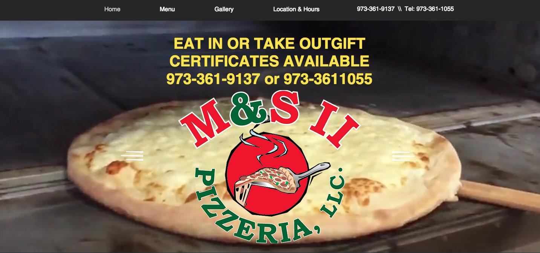 Website design for pizzeria Dover NJ