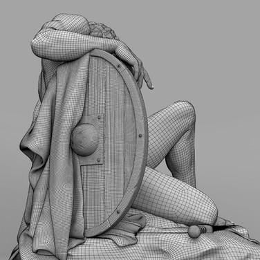 Dying Gladiator UME art wireframe