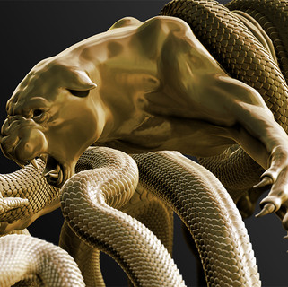 "UME 3D Art: ""Jaguar & Anaconda""."""