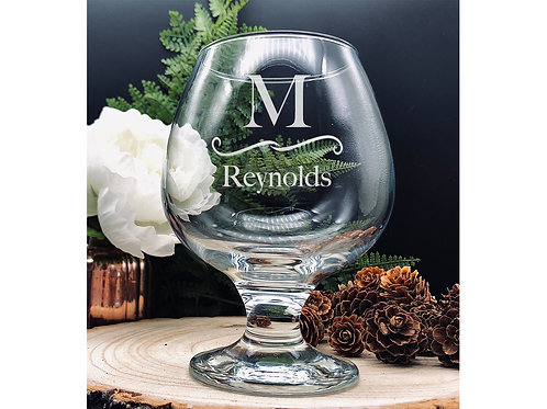 Personalised Brandy/Cognac Glass Snifter, hand etched