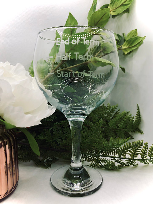 Teachers Gin/Wine Glass with fill lines