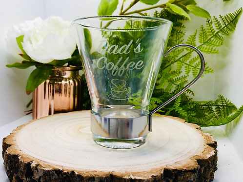Personalised Coffee Glass Mug with Stainless Steel Handle