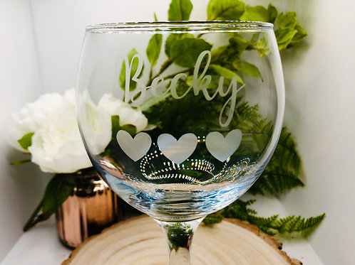 Personalised Gin Glass with name and heart design