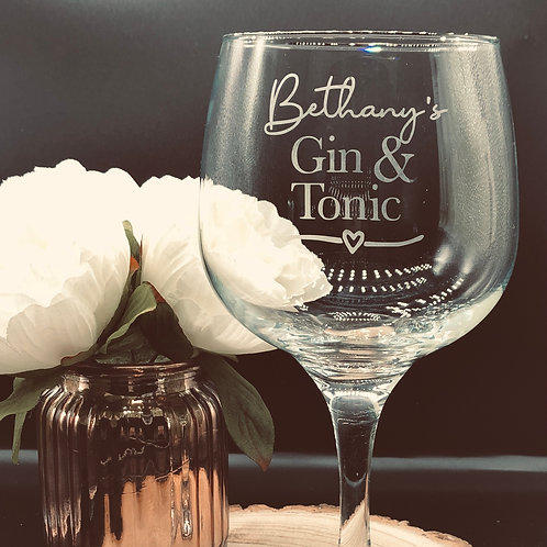 Personalised Gin Glass, hand etched with name and Gin & Mixer
