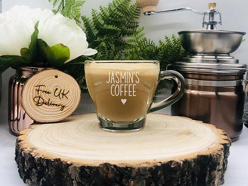 Personalised Coffee/Tea Glass Mug, Heat Resistant