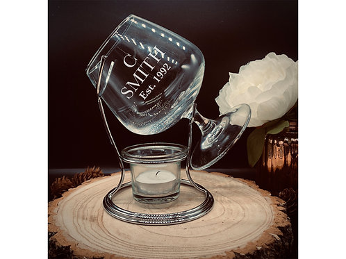 Personalised Brandy & Cognac Warmer Set, Snifter Glass Stand and Tealight