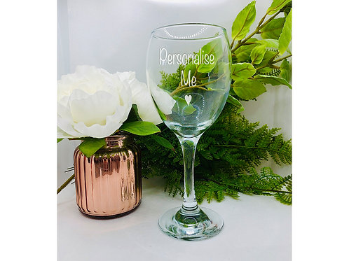 Personalised Wine Glass, hand etched with your message