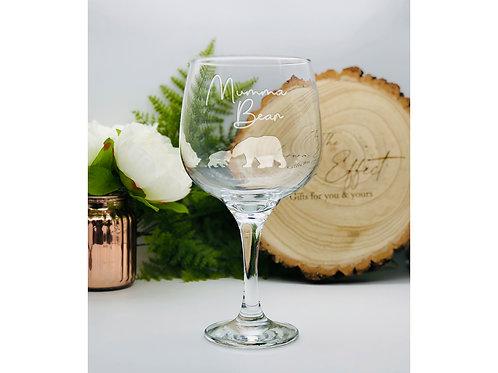 Large Gin Glass with Mumma Bear Design