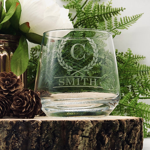 Personalised Laurel Leaf design Whisky & Rum Glass