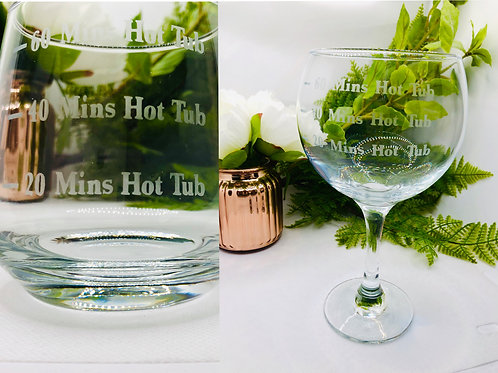 Hot Tub Fill Lines Glass set - Gin, Whiskey, Pint or Wine glass
