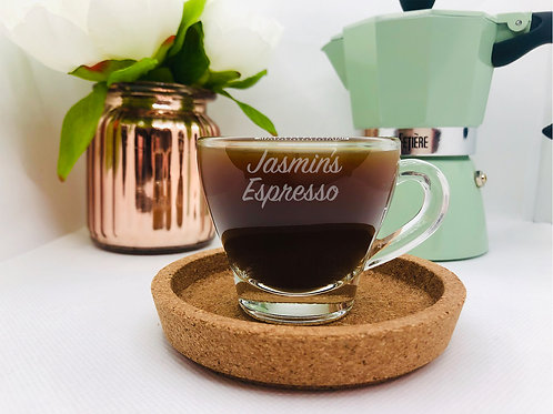Personalised Espresso Coffee Glass with optional saucer