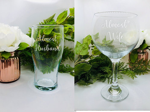 Almost married glass combo - Postponed/cancelled wedding gift