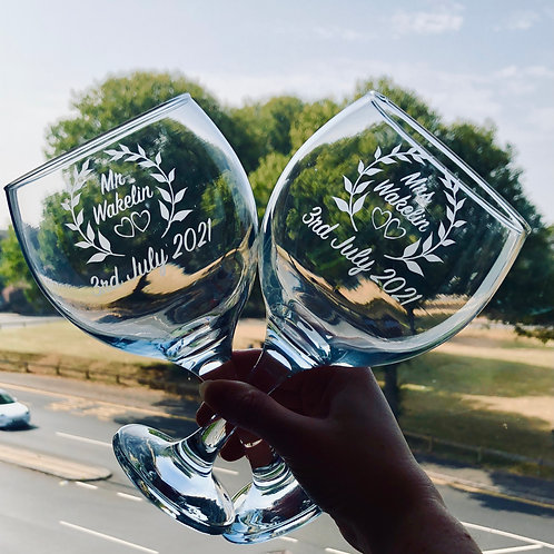 Eucalyptus Leaf Gin Glass Set, Mr & Mrs hand etched wedding glasses
