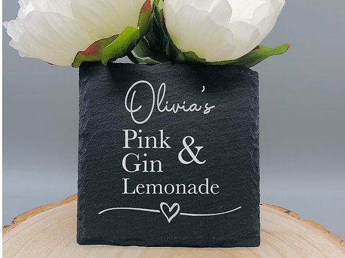 Square Slate Coaster Engraved with name, drink and mixer