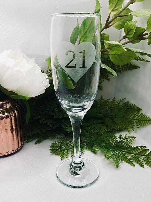 Personalised Champagne Glass Birthday Milestone