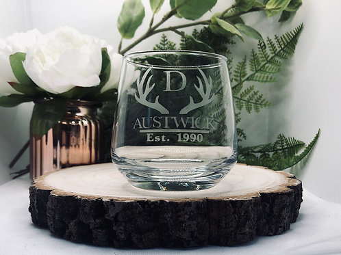 Personalised Whiskey Tumbler with Antler Design