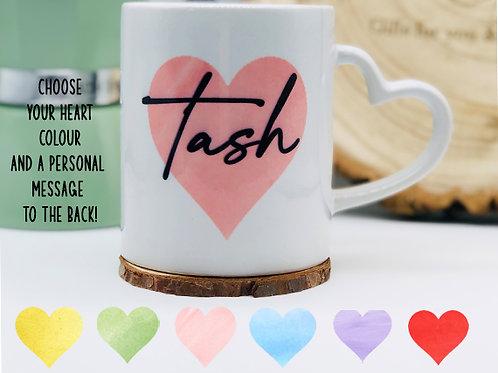 Personalised Heart Handle Mug, Personal message on back