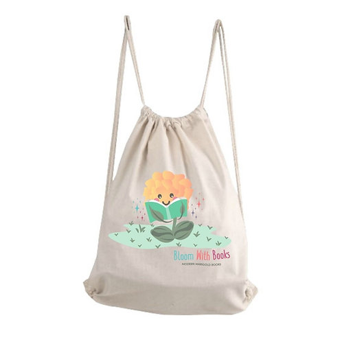 """Edu-GIRLS """"Bloom With Books"""" Cotton Drawstring Backpack"""