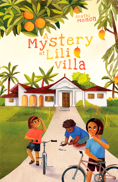 A middle grade book cover illustration featuring three brown kids in the foreground, two on bicycles, one with a magnifying glass. In the background there is a large white villa surrounded by palm trees.