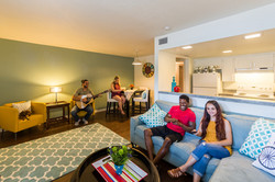 Denton Student Apartments Interior Living Room with friends