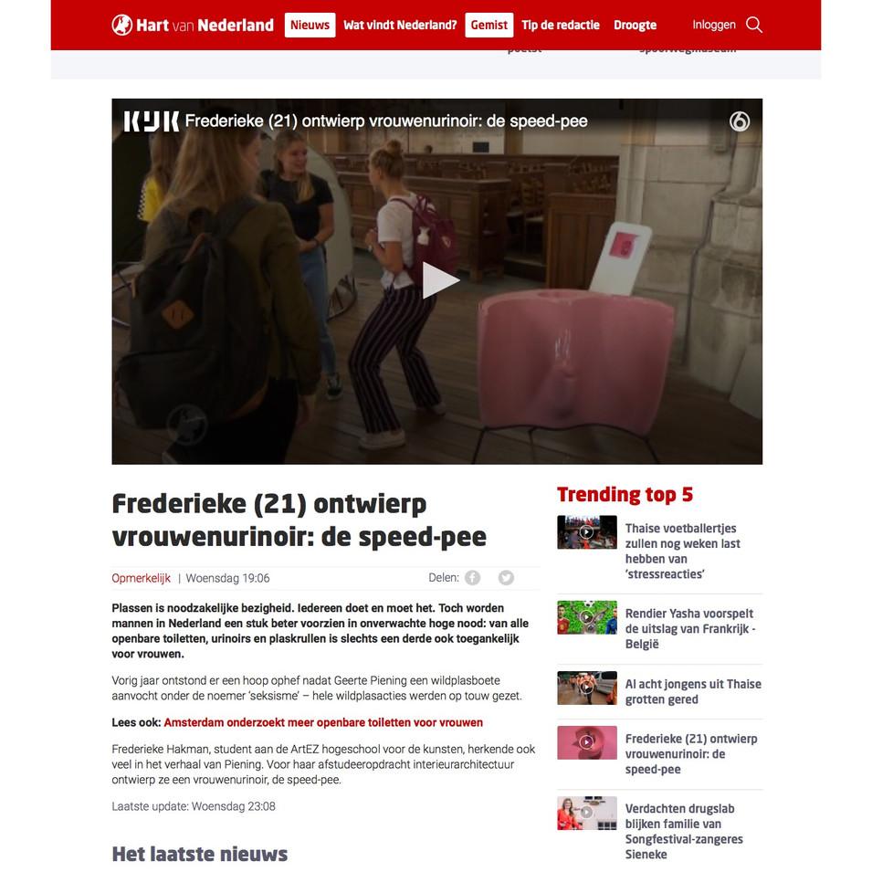 reportage speed-pee SBS6 Hart van Nederland van Frederieke