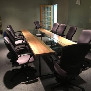 2- Maple Reversed Live Edge Boardroom Table - Glass Insert