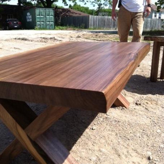 010 - Walnut Coffe Table with X Frame Wood Leg