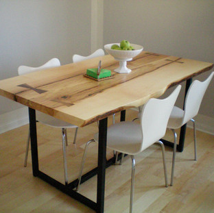 022 - Maple Live Edge Kitchen Table / Natural Finish / Bow Ties