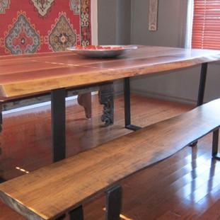 019 - Walnut Table / Tapered Black Flat Bar Steel Legs / Maple Bench Stained Walnut