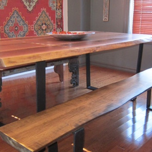 019 - Walnut Table / Tapered Black Flat Bar Steel Legs / Maple Bench Stained Walnut
