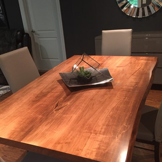 023 - Maple Bookmatched Live Edge Table -  Walnut Stain